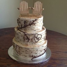 Bill and Erica's 3 tier Birch tree wedding cake with Adirondack chair topper