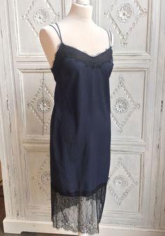 ASOS Slip Cami Midi/90s Style Dress Navy/Black Lace Size 8