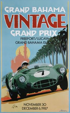 Vintage Bahama Grand Prix< Aston Martin DBR 2, Stirling Moss, by © Dennis Simon. This poster is available at centuryofspeed.com