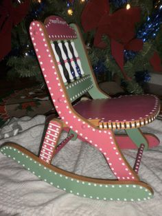 Hand Painted Furniture - Whimsical Childs Rocker - Folk Art Rocking Chair - Pink and Green.