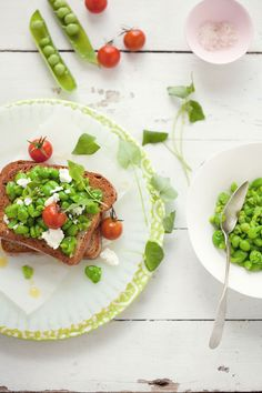 crushed pea, cherry tomato + goat cheese tartines • cannelle et vanille