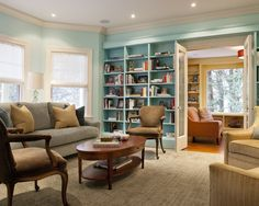 Love the warm blue with the warm coral and golden yellow beyond. Built In Bookshelves Design, Pictures, Remodel, Decor and Ideas - page 44