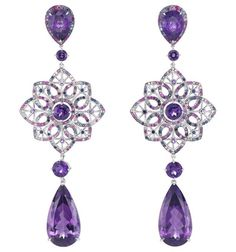 Chopard earrings in 18k white gold composed of 2 pear shaped amethysts for a total of 23.58 carats, 2 pear shaped amethysts (4.78 carats), and set with amethysts, rubies, sapphires, pastel pink sapphires and Paraiba tourmalines