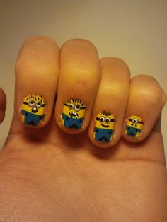 Minion Nails. I think that this nail design is adorable :)