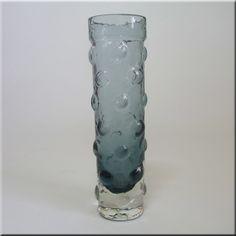 Riihimäen Lasi Oy / Riihimaki smokey glass textured vase by Tamara Aladin, design number 1462, 180mm tall.