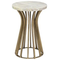 """A metallic openwork design creates the dramatic look of Palecek's Athena side table. Highlighted by graceful curves, a drum-style base supports a white marble surface, making a glamorous statement in luminous gold. This demure silhouette proves both versatile and chic, accenting decor collections with elegant ease. Wrought iron base; Authentic Century marble; Natural marble will vary in color and grain.; 16""""Dia x 24.25""""H"""