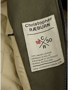 Remade Military Bomber Jacket by Christopher Raeburn: Tag Design, Label Design, Layout Design, Techniques Textiles, Military Bomber Jacket, Label Tag, T Shirt Label, Christopher Raeburn, Clothing Labels