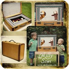Traveling puppet theatre from a vintage suitcase
