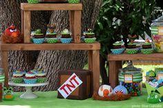 mesa de dulces Angry Birds cupcake decoración fiesta evento infantil cumpleaños y comunión - sweet table kids children birthday communion party decoration miraquechulo
