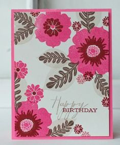 Floral Happy Birthday Card by Betsy Veldman for Papertrey Ink (April 2013)