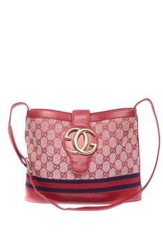 Gucci Vintage Monogram Canvas & Leather W/ Gold-tone Hardware Red Tote Bag
