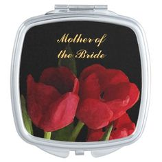 Red Tulips Wedding Mother of the Bride Travel Mirrors