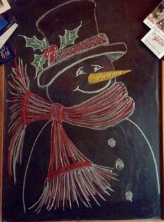 Chalkboard snowman, 2016 - Thomas the blue-eyed snowman.