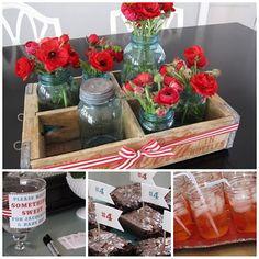 Aqua and red themed, mason jars, red ranunculus