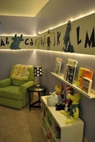 Soo cute! Adjusted for a girls room, of course. Dr. Seuss-themed nursery.  DIY paneling, backlit with rope lighting; hand-painted Seuss characters. I love this too baby my babies have a cute little room already