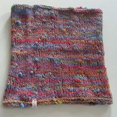 Col fantaisie rose multicolore, filé et tricoté main