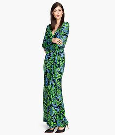 H&M Trend Conscious Stretchy Jersey Green Jersey Maxi Wrapover with Tie Dress 2 | eBay