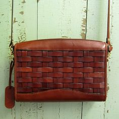 vintage 1980s Etienne Aigner Basket Woven Leather Handbag by hollie