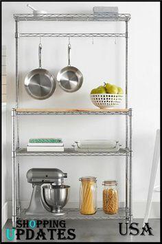 Kitchen Organization, Kitchen Storage, Storage Organization, Storage Racks, Metal Kitchen Shelves, Self Storage, Wine Storage, Garage Storage, Bakers Rack Kitchen