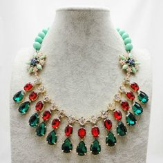 This product comes from   zkmade.com Gorgeous Blue Red Gem Alloy Necklace Bead Necklace Wholesale Jewelry