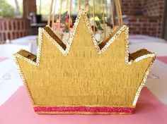 Crown Piñata van een Princess Birthday Party via Kara's Party Ideas Disney Princess Party, Princess Birthday, Birthday Crowns, Cinderella Party, Third Birthday, 2nd Birthday Parties, Princess Party Decorations, Crown Party, Gold Party