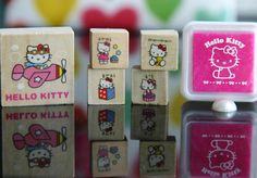 diary stationery hello kitty Stamp Set of 5 with 1 pink-ink stamp pad