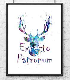 Harry Potter Watercolor Print, Expecto Patronum, Hogwarts Poster, Movie Poster, Watercolor Print, Kids Decor, Wall Art, Home Decor - 430
