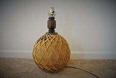 Vintage Rattan Table Lamp  Woven Mid Century by pepeandcarols