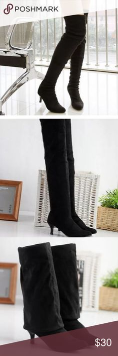 Faux suede over the knee thigh high boot Black over the knee thigh high boots, never worn. Heel height medium: 1 3/4- 2 3/4 inches. All photos are of actual boots (first 3 from online site, last one is of the same boots in my possession 😊) Shoes Over the Knee Boots
