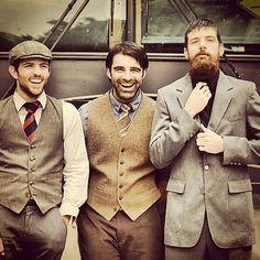 Kickin it old school wearing tweed hat, vest, coat and pants!! Earthtone colors rock... #LesBeauxHabits