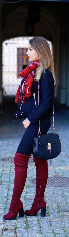 MAROON OVER THE KNEE BOOTS / Fashion By A Piece Of Anna