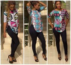 Check out these 30 stylish and trendy ankara tops to wear with jeans. These styles will help you get started with the trend or add to it. Ankara Tops Blouses, Ankara Blouse, African Blouses, Ankara Dress, Latest African Fashion Dresses, African Print Fashion, African Prints, African Outfits, Ankara Fashion