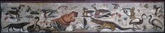 Roman mosaic of a Nilotic scene. found in Pompeii in the House of the Faun next to the world famous Alexander Mosaic. 66cm x 333cm. circa 100 BC (?). Naples National Archaeological Museum. [OC] [5220x1080]