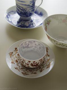 Eggshell porcelain pieces by Hirado Tousyo