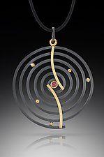 "Curved Spiral Pendant by Ilene Schwartz (Gold, Silver, & Stone Necklace) (2.38"" x 1.75"")"