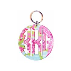 Lilly Pulitzer Acrylic Cut Monogram Key Chain ❤ liked on Polyvore
