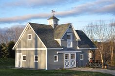 "Stall barn with 12′ loft gable dormer with custom ""fishscale"" trim and custom 4′ x 7′ loft door with glass, 4′ x 4′ standard venting cupola, 10′ x 22′ custom hipped gable overhang, two 10′ x 9′ split sliding doors...  Read more »"