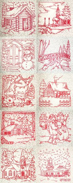 Winter Village Scenes Embroidery Machine Design Details Machine Embroidery Projects, Machine Embroidery Quilts, Brother Embroidery Machine, Embroidery Scissors, Embroidery Fonts, Red Work Embroidery, Embroidery Patterns Free, Embroidery Needles, Vintage Embroidery