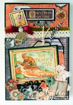 Yoltzin handmade cards: Once upon a time, with awesome Graphic 45 papers, An eerie Tale collection. #cardmaking #graphic45 #yoltzinhandmade