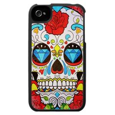 Sugar Skull and Red Roses iPhone 4 Case