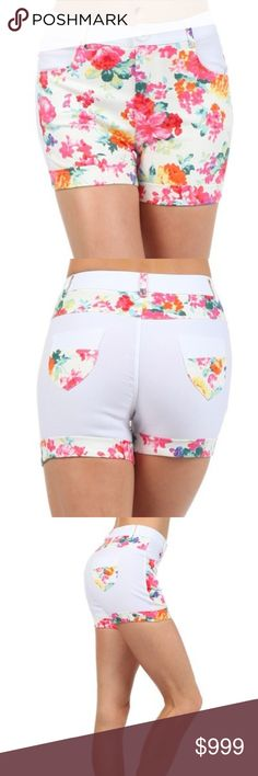 COMING SOON!  Floral Block Print Shorts Women's  Roslyn fashion shorts with color block floral Print. These shorts have detail printed belt loops, zip fly, with button enclosure. Shorts