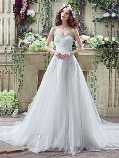 Glamorous Sequined Lace Tulle 2016 Wedding Dress Court Train Lace-up