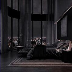 Home Building Design, Home Room Design, Dream Home Design, Modern House Design, Black Bedroom Design, Black Interior Design, Dream House Interior, Luxury Homes Dream Houses, Modern Mansion Interior