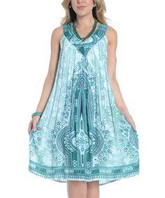 Look at this #zulilyfind! Turquoise & White Arabesque Pleated Dress - Women by Shoreline #zulilyfinds