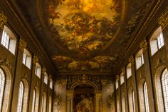 The Painted Hall Old Royal Naval College College Way Greenwich London England United Kingdom  http://www.alamy.com/mediacomp/imagedetails.aspx?ref=GEDM9P architecture attraction britain british building capital ceiling city classical college color column design destination education england english europe famous fresco greenwich hall heritage historic history kingdom landmark light london maritime