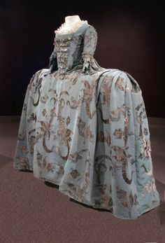 18th century - Blue silk and silver brocade robe and petticoat. Museum info? Broken link