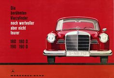 "In 1959 the spotlight was on the Mercedes-Benz 180, 180 D, 190 and 190 D models (""even more valuable, but no more expensive"") (Atelier Harry Preußner)."