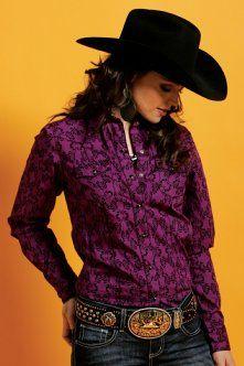 Western Shirts : Purple Print Shirt - Cruel Girl. Love the dark purple, awesome for fall!