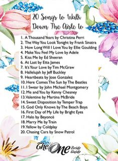 When you make your grand entrance and begin walking down the aisle on your big day, you need to pick a song that really captures that moment perfectly. We came up with a list of 20 songs that you can walk down the aisle to.