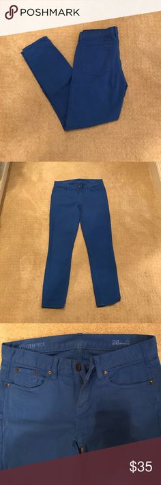 """J. Crew toothpick colored denim Bright blue toothpick ankle jeans. 36"""" long. In like new condition. J. Crew Jeans Ankle & Cropped"""